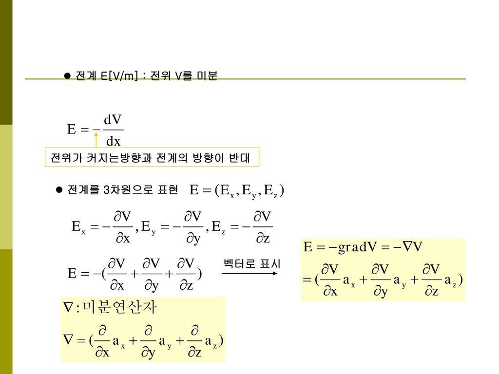 전계 E[V/m] : 전위 V를 미분 전위가 커지는방향과 전계의 방향이 반대 전계를 3차원으로 표현 벡터로 표시
